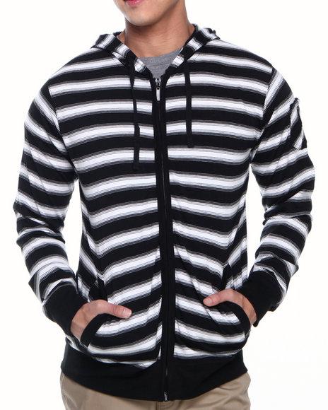 Basic Essentials - Men White Sai Striped Hoodie