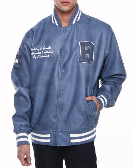 Basic Essentials - Men Indigo Pleather Varsity Jacket