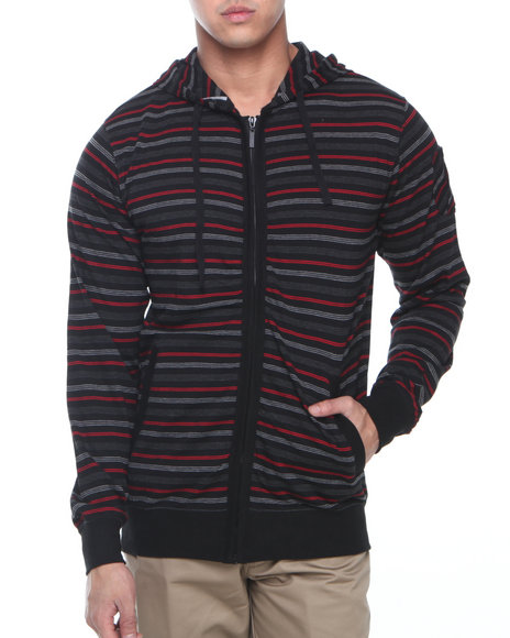 Basic Essentials - Men Black Striped Hoodie