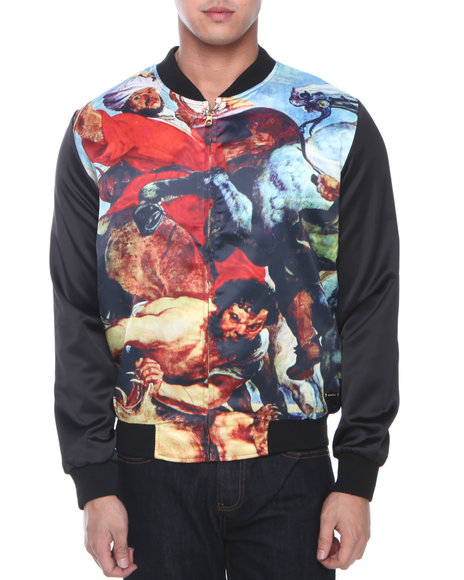 Hudson NYC Black Titan Clash Raglan Sleeve Satin Jacket