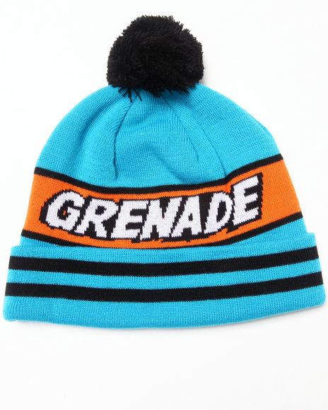 Grenade Comic Pom Beanie Blue