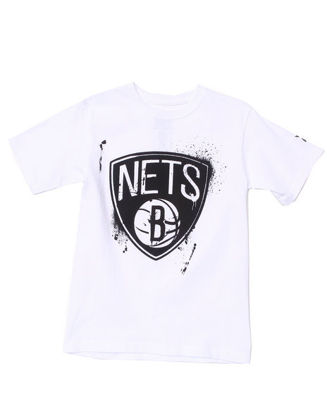 NBA MLB NFL Gear Boys White Brooklyn Nets Stencil Tee (8-20)