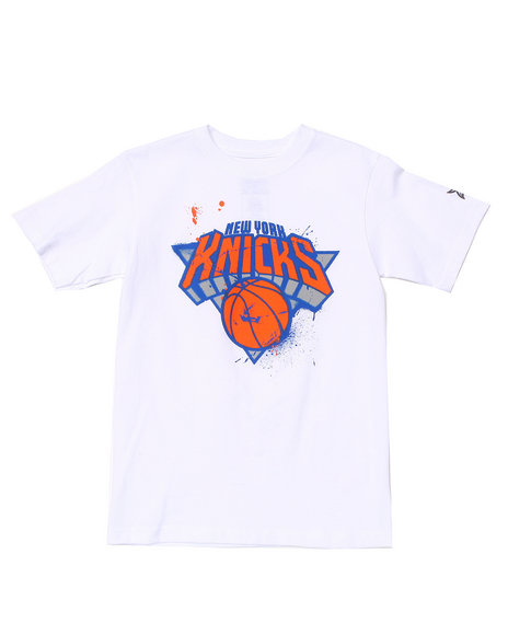 NBA MLB NFL Gear Boys White New York Knicks Stencil Tee (8-20)