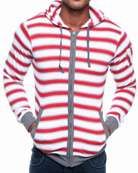 Basic Essentials - Men White Sai Striped Hoodie