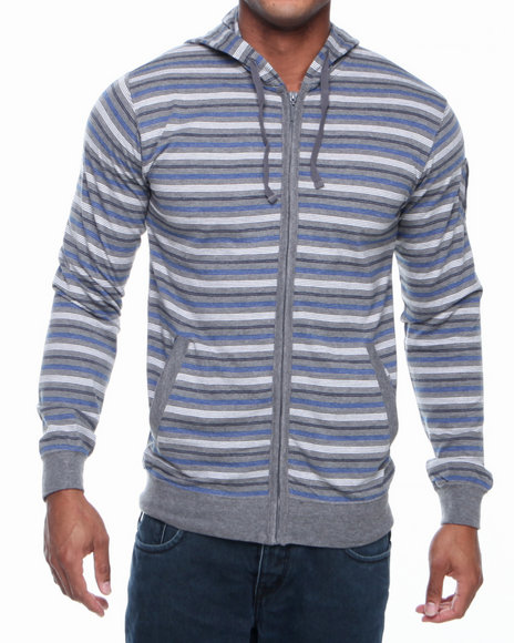 Basic Essentials - Men Grey Striped Hoodie