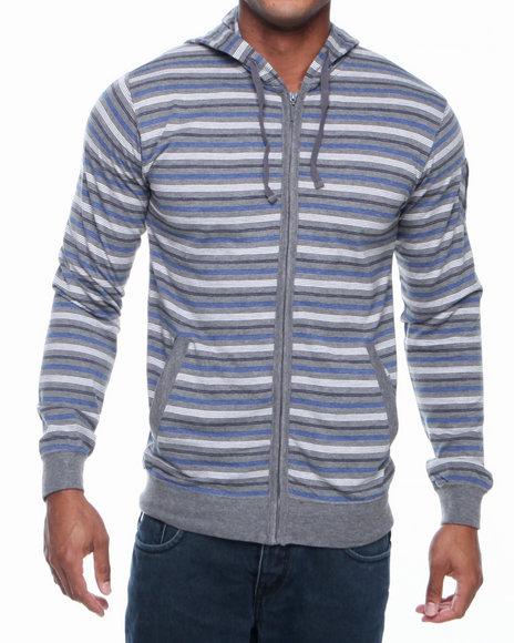 Basic Essentials - Men Grey Striped Hoodie - $14.99
