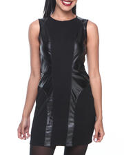 Women - Ruthy Body Con Vegan Leather Pannel Capsleeve Dress w/back zipper