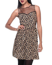 Women - Animal Print Mesh Insert Zip Back Dress