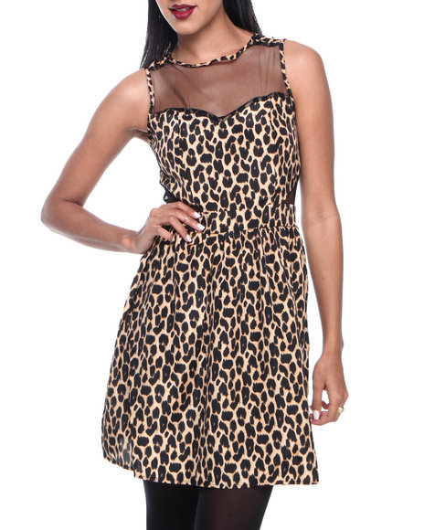 Ali & Kris - Women Animal Print Animal Print Mesh Insert Zip Back Dress