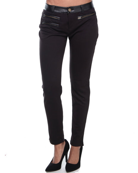 ALI & KRIS Black Zip Trim Ponte Vegan Leather Trim Skinny Pant