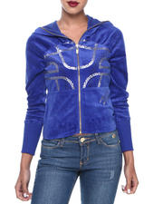 Women - Gel Printed Zip Front Velour Hoodie