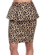 Bottoms - Stretch Sateen Animal Print Peplum Skirt