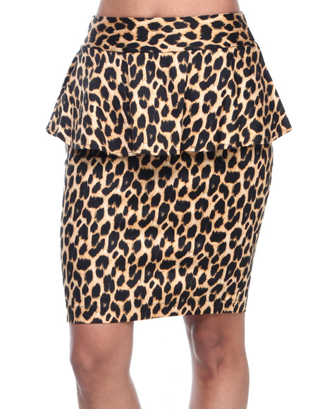 ALI & KRIS Animal Print Stretch Sateen Animal Print Peplum Skirt