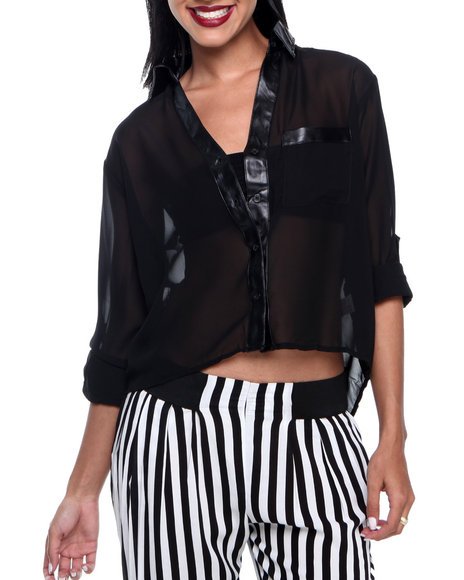 Ali & Kris - Women Black Solid Vegan Leather Trim Chiffon Shirt