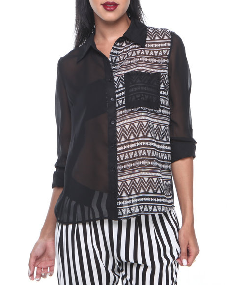 ALI & KRIS Black,White Two Face Solid/Aztec Print Chiffon Top
