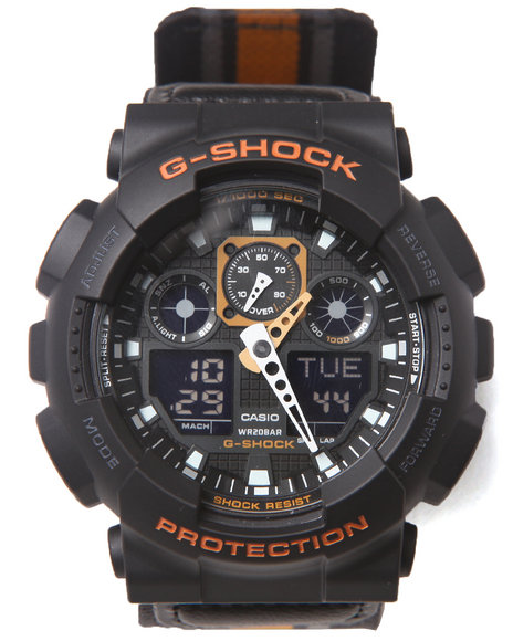 G-Shock By Casio Men Ga-100 Striped Band Watch Multi 1SZ