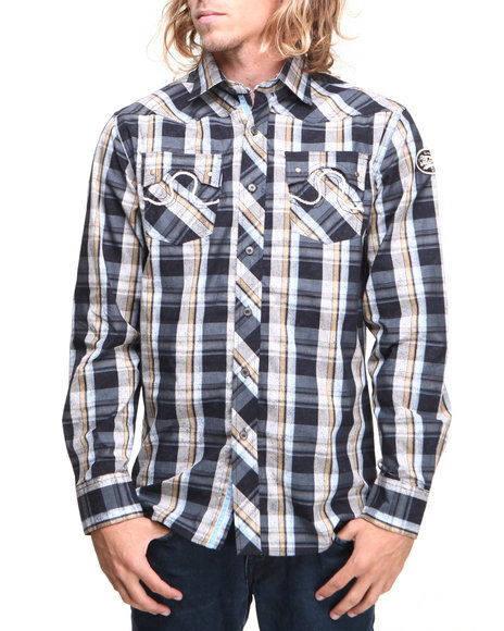 Pelle Pelle - Men Navy Vintage Faded Plaid Button Down Shirt