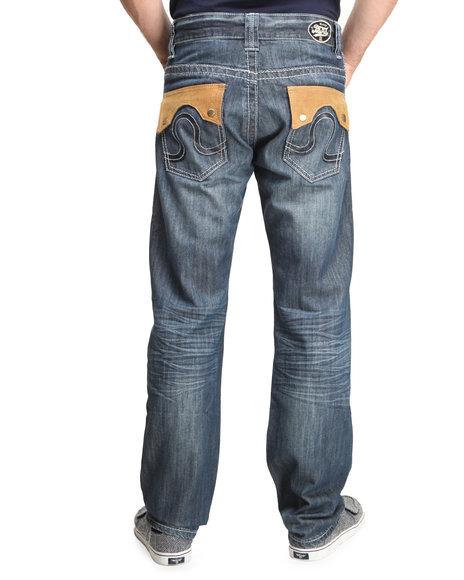 Pelle Pelle - Men Medium Wash Static Wash Leather Flap Denim Jeans