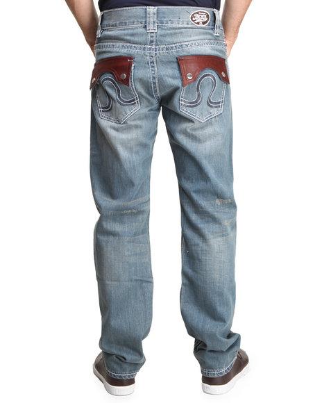 Pelle Pelle Medium Wash Deadwood Wash Leather Flap Denim Jeans