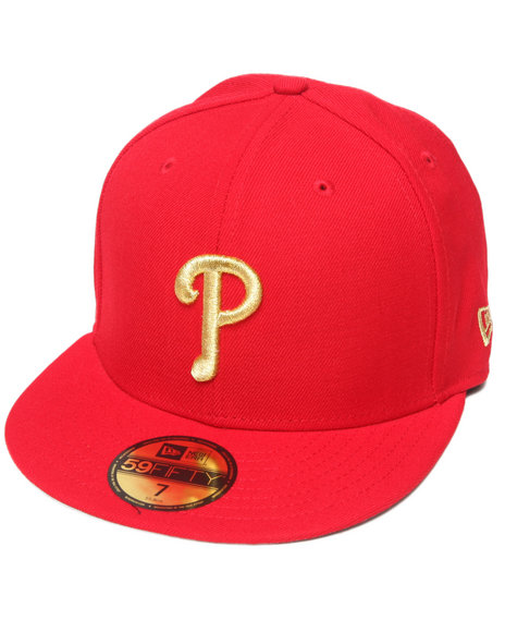 New Era - Men Red Philadelphia Phillies 59Th Anniversary Side Patch 5950 Fitted Hat