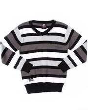 Sweaters - STRIPED V-NECK SWEATER (8-20)