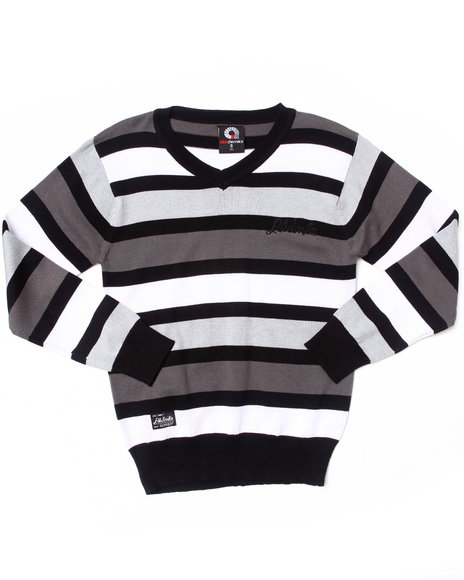 Akademiks Boys Black Striped V-Neck Sweater (8-20)