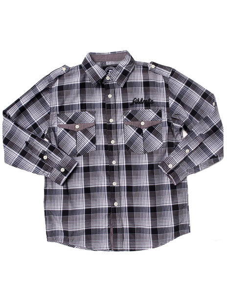 Akademiks - Boys Black Roll Up Sleeve Plaid Woven (8-20)