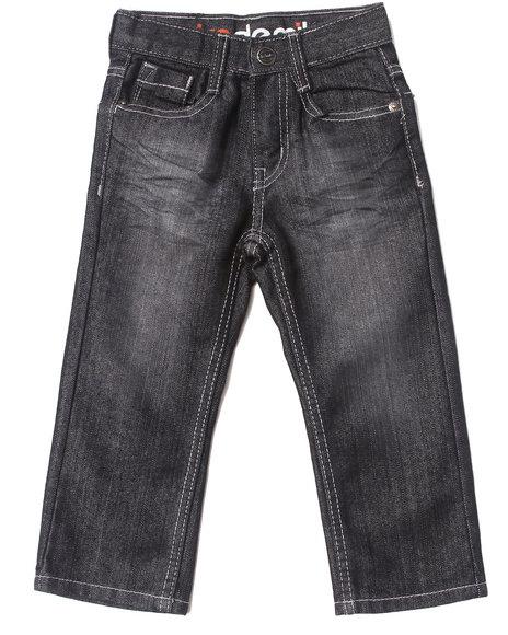 Akademiks Boys Black Embroidered Flap Pocket Jeans (2T-4T)