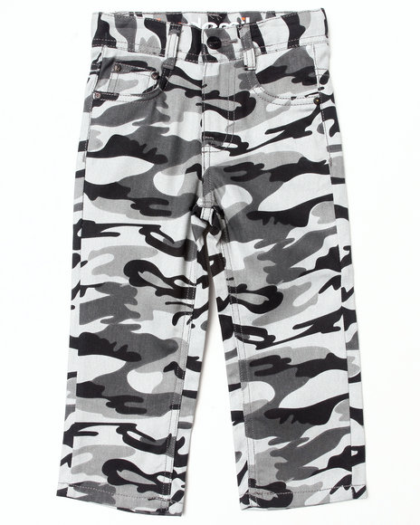 Akademiks - Boys Black Camo Twill Pants (2T-4T)