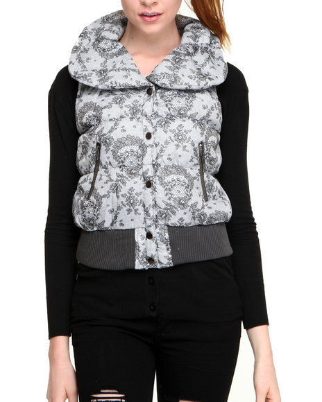 Fashion Lab - Quilted Vest w/floral print