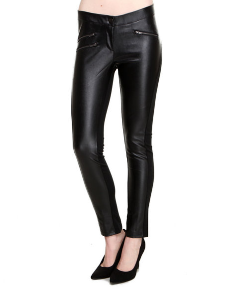 ROMEO & JULIET COUTURE Black Vegan Leather Front Solid Back Zip Trim Ponte Pant