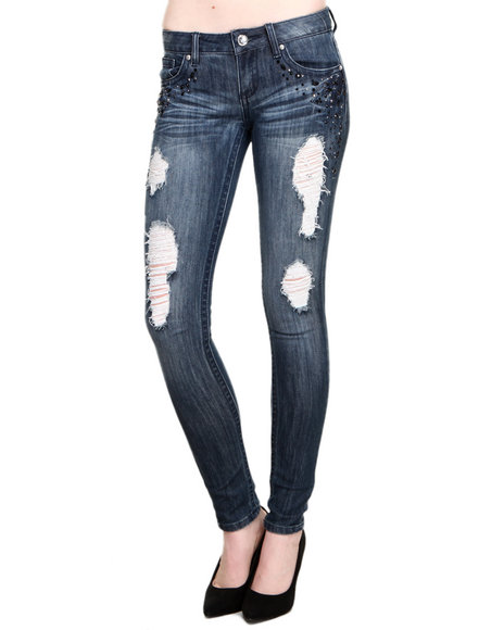 Almost Famous Dark Wash Stone Trimmed Side Pockets Distructed Skinny Jeans