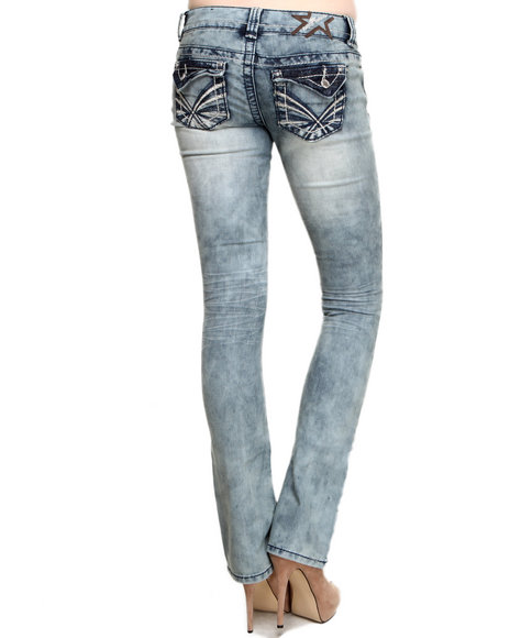 Almost Famous Medium Wash Flap Pockets Cloud Wash Bootleg Jean