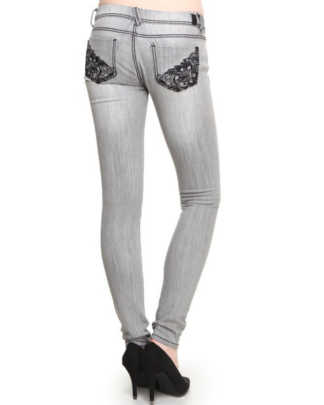 Almost Famous - Women Grey Lace Trim Back Pockets Skinny Jean - $24.99