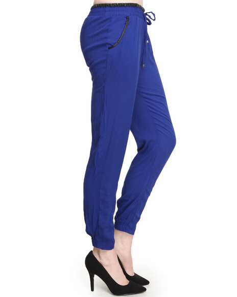 ALI & KRIS Blue Smocked Waist Vegan Leather Trim Skinny Pant