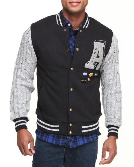 AKOO Black Cable Varsity Jacket