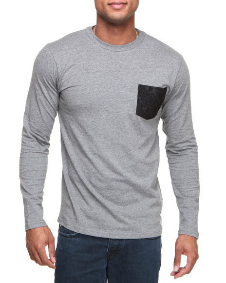 Crooks & Castles - Men Grey Python L/S Pocket T-Shirt - $33.99