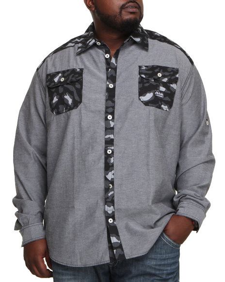 Akademiks Black Omar Leopard Print Chambray Button Down Shirt (Big & Tall)
