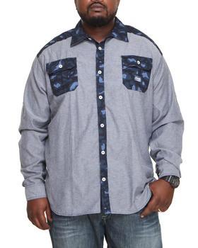 Akademiks - Omar Leopard Print Chambray Button Down Shirt (B&T)