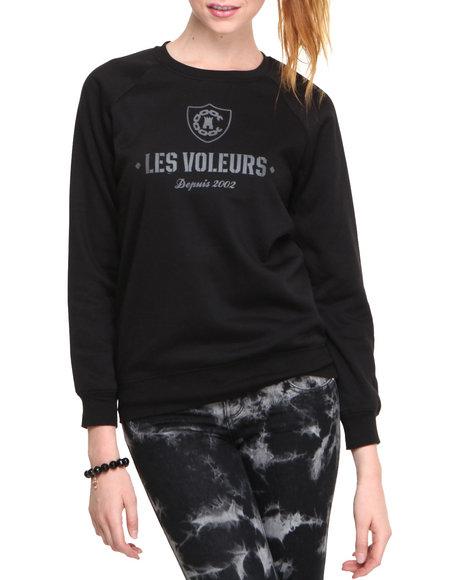 Crooks & Castles Black Les Voleurs Crew Pullover Sweatshirt