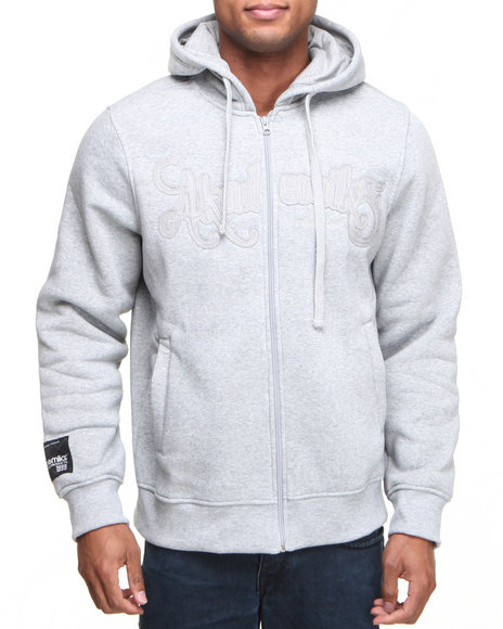 Akademiks - Men Grey Cedric Heavyweight Zip Fleece Hoodie