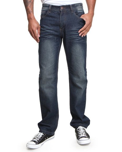 MO7 Dark Wash Contrast Stitch Fashion Denim Jeans