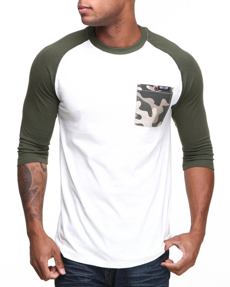 Mo7 - Men Olive Camo Trim 3/4 Raglan Shirt