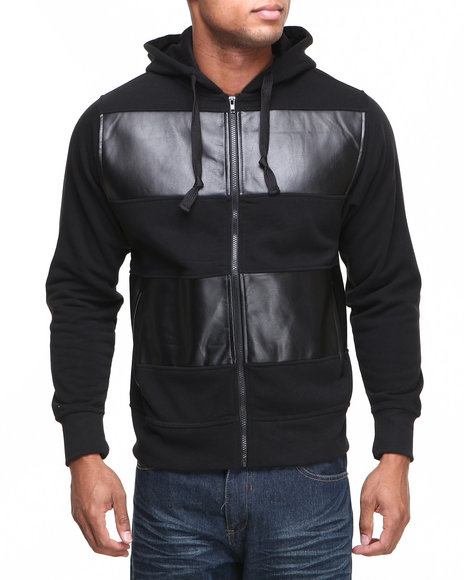 Basic Essentials - Men Black Vegan Leather Pieced Hoodie