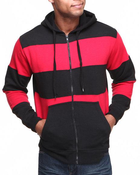 Basic Essentials Black,Red Large Stripe Hoodie