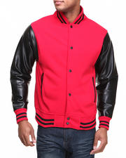 Men - Vegan Leather Varsity Jacket