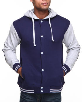 Basic Essentials - Elbow Patch Varsity Jacket Hoodie