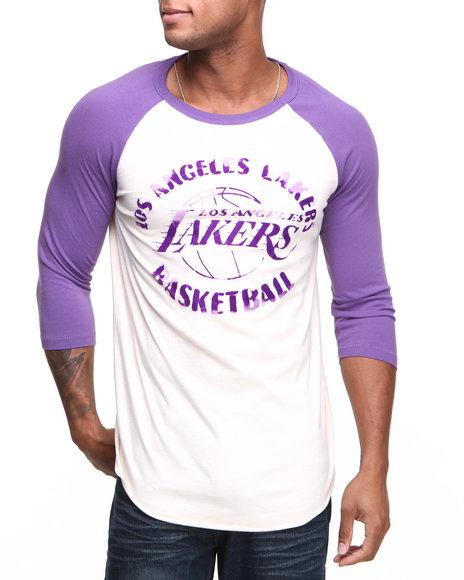 Junk Food Purple Los Angeles Lakers Rebound Raglan Shirt