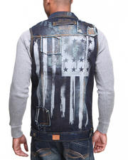 Outerwear - Fly American Flag Denim Vest