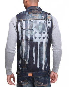 Basic Essentials - Fly American Flag Denim Vest